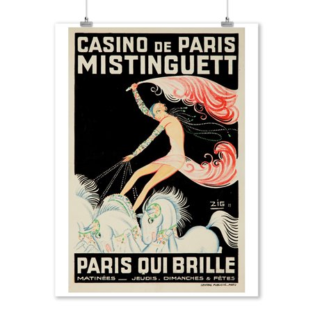 France - Casino de Paris - Mistinguett  Paris Qui Brille - (artist: Zig c. 1931) - Vintage Advertisement (9x12 Art Print, Wall Decor Travel Poster)