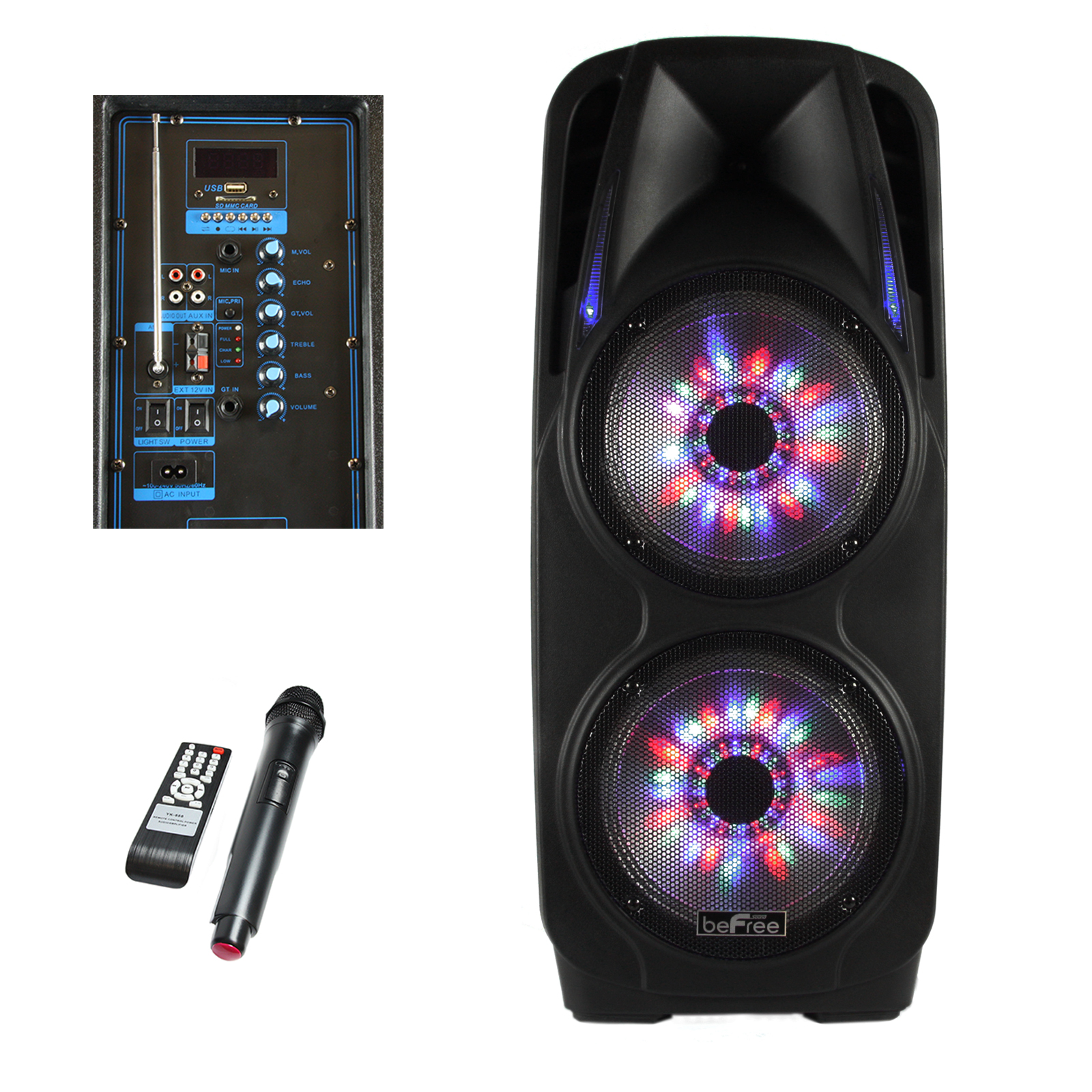 beFree Sound 2x's 10 Inch Woofer Portable Bluetooth Powered PA Tailgate Party Speaker