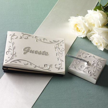 Lenox Silver Metal Alloy Opal Innocence Guest Book with Pen and Holder