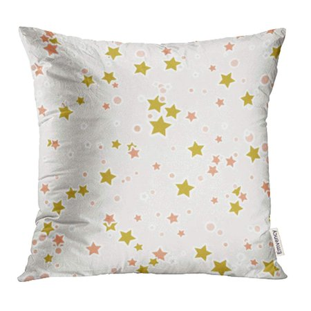 CMFUN Orange Colorful Abstract with Cute Stars Little Dots on Beige Confetti White Pillowcase Cushion Cover 20x20 inch