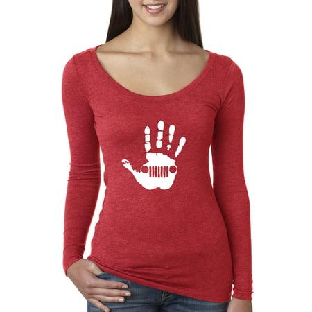 Wrangler Blue Twill Shirt (New Way 773 - Women's Long Sleeve T-Shirt Jeep Handprint Wave Grille Wrangler Cherokee XL)