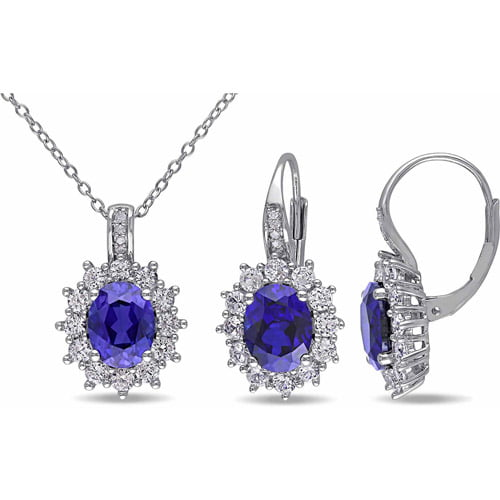 12-1 10 Carat T.G.W. Created Blue and White Sapphire with Diamond-Accent Sterling Silver Set of Pendant and Earrings by Generic