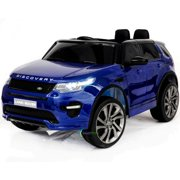 12V powered ride on car Land Rover Discovery For Kids with MP4 Touch screen Remote Control Opening doors LED lights Leather Seat - Blue