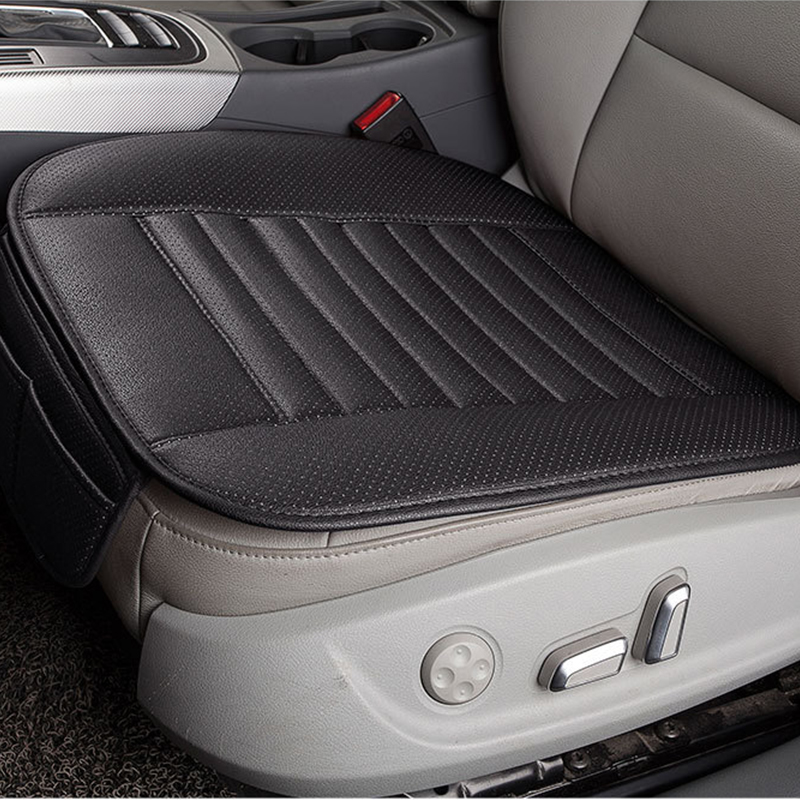 2pcs Grey PU Leather Car Seat Cover Breathable Pad Mat for Auto Chair Cushion
