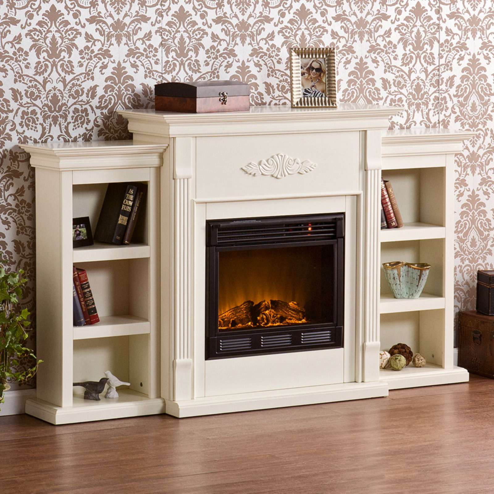 Southern Enterprises Tennyson Ivory Electric Fireplace with ...