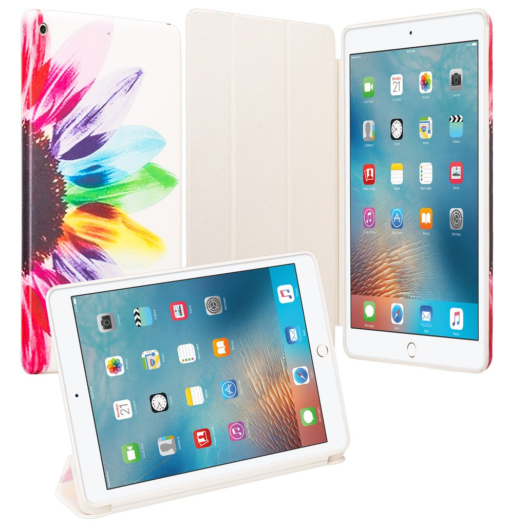 NEWiPad 9.7 Inch 2017 - PU Leather Smart Case Cover with Auto Sleep/Wake/Kickstand for iPad 9.7 In 2017 Release - Sun Flower