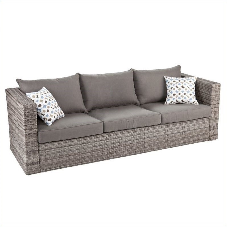 Southern Enterprises Bristow Outdoor Deep Seating Sofa in Gray
