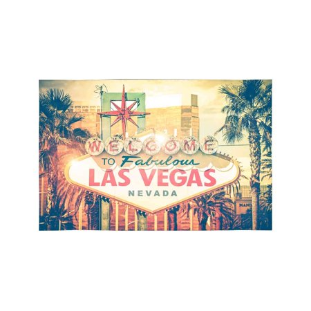 MKHERT Vintage Las Vegas Boulevard Entrance Sign City View Placemats Table Mats for Dining Room Kitchen Table Decoration 12x18 inch,Set of 4