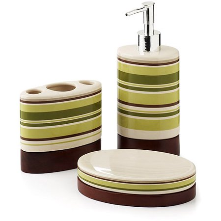 Hometrends galerie 3 piece bath accessories set for Bathroom accessories at walmart