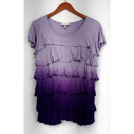 OSO Casuals Top Sz M Dip Dye with Tiered Ruffle Tunic Purple Womens A436148 ()