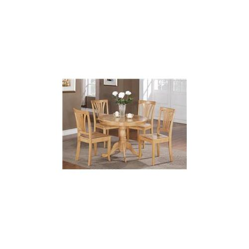 East West Furniture ANAV5-OAK-W 5 -Piece Round Kitchen 36 inch Table and 4 Chairs with Wood seat