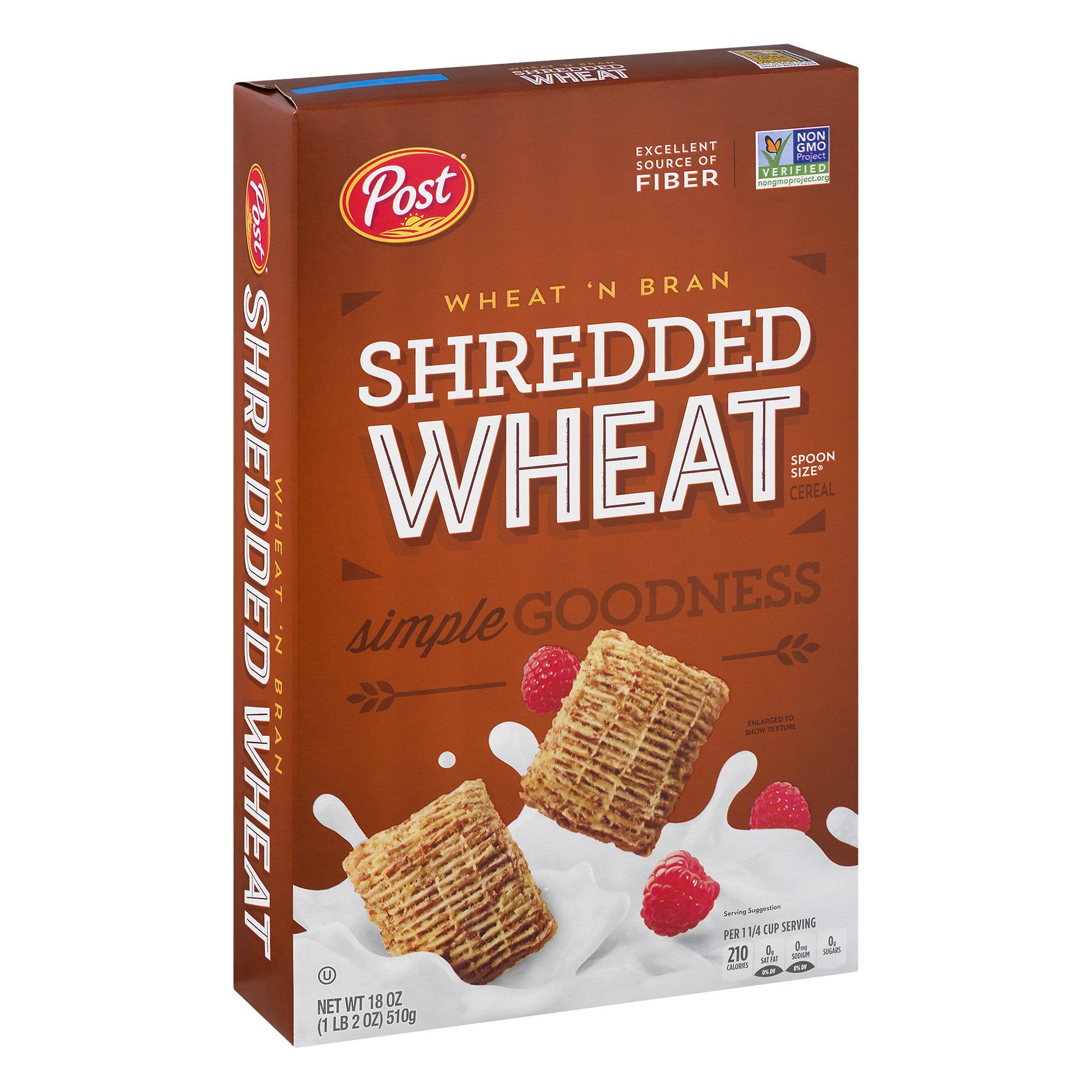Post Shredded Wheat Breakfast Cereal, Wheat & Bran, 18 Oz