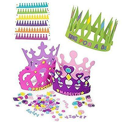 12 princess foam tiara craft kits + 12 prince king foam crown craft kits - great fun for kids birthday party. - Prince And Princess Party