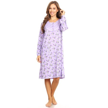 6010 Womens Nightgown Sleepwear Pajamas Woman Long Sleeve Sleep Dress Nightshirt Purple L (Long Ladies Gowns)