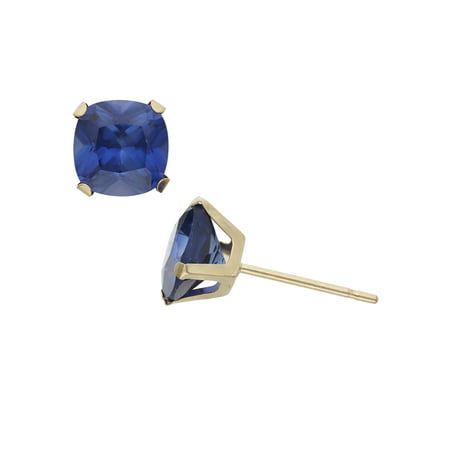 2 Carat T.G.W. Created Blue Sapphire 10kt Yellow Gold 6mm x 6mm Cushion-Cut Post Earrings