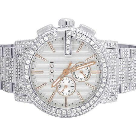 e373b887a5f Gucci - G-Chrono 44MM Silver Dial Diamond Watch YA101201 16.5 Ct -  Walmart.com