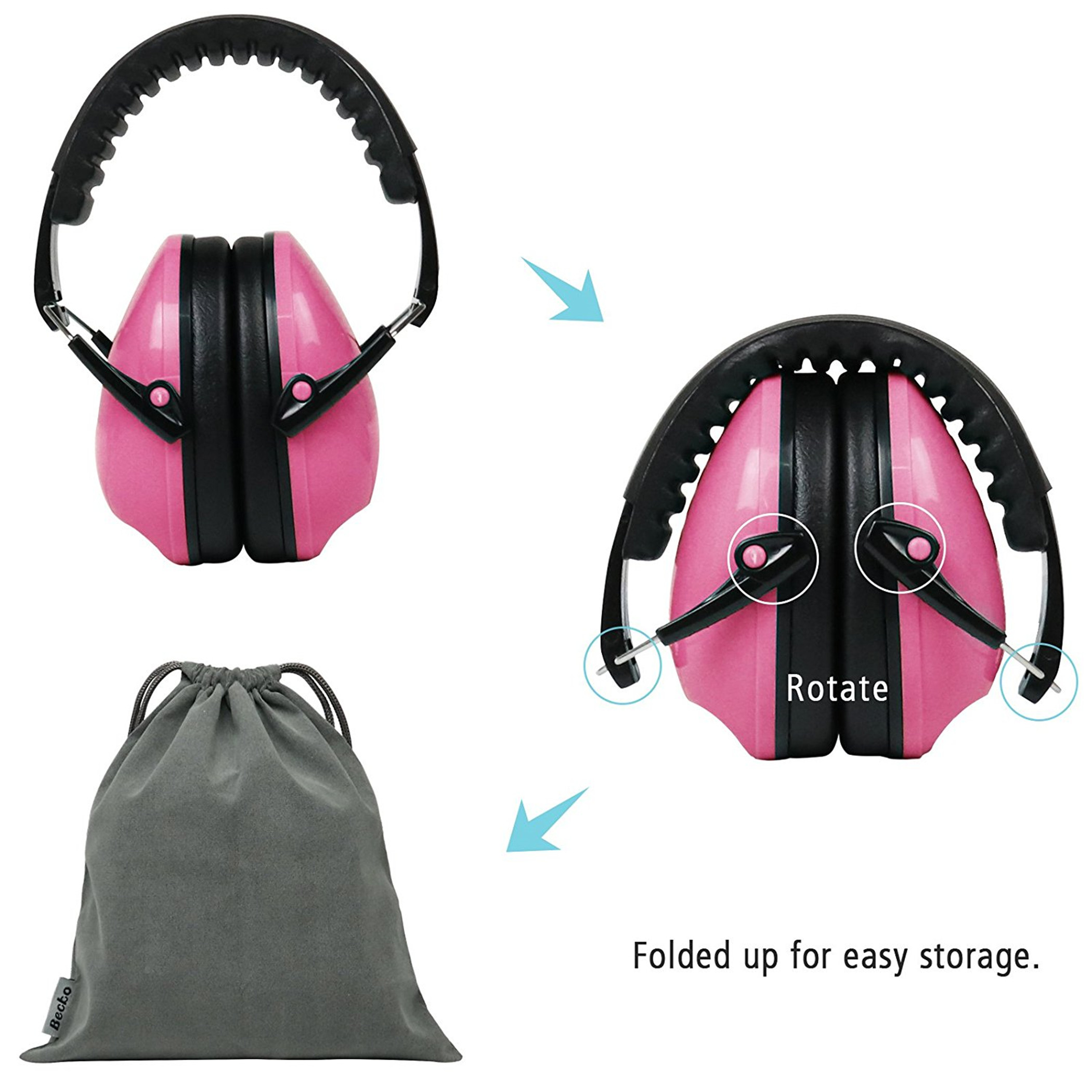 Becko 27dB NRR Foldable Kids Safety Ear Muffs / Ear Defender ( Purple )
