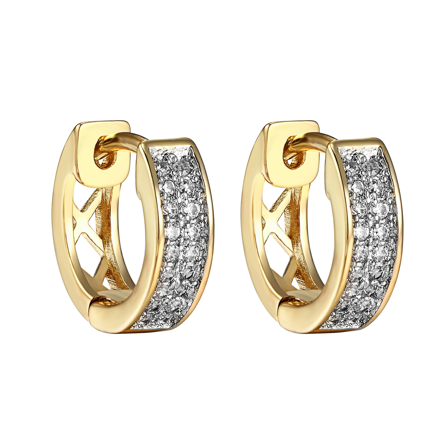 Cluster Set Hoop Earrings Lab Created Cubic Zirconias 14k Yellow