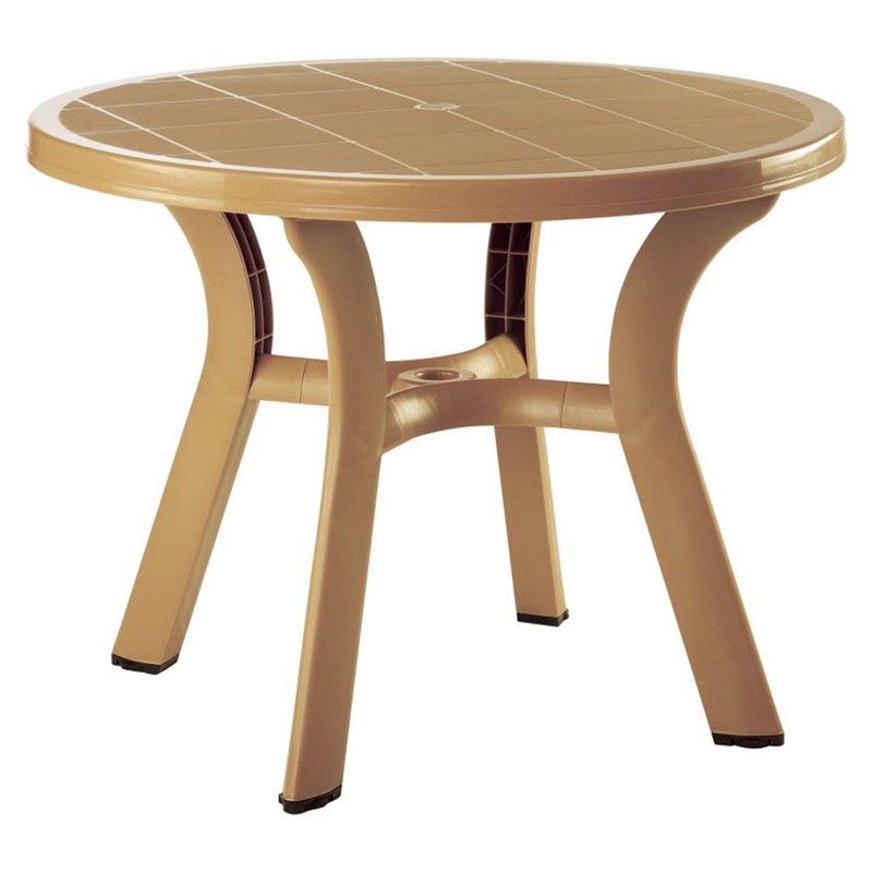 "Atlin Designs 42"" Round Resin Patio Dining Table in Teak Brown by Atlin Designs"