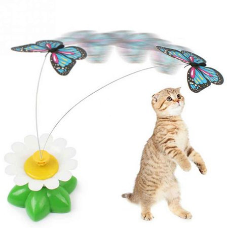 Pet Cat Dog Toys Plaything Electric Rotating Butterfly Kitten Play Seat Scratch Teaser Steel Wire](Butterfly Pets)