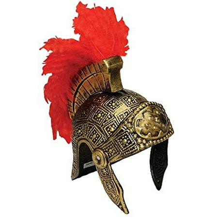 Roman Trojan Warrior Spartan Soldier Costume Helmet with Red Feather (Trojan Costumes)
