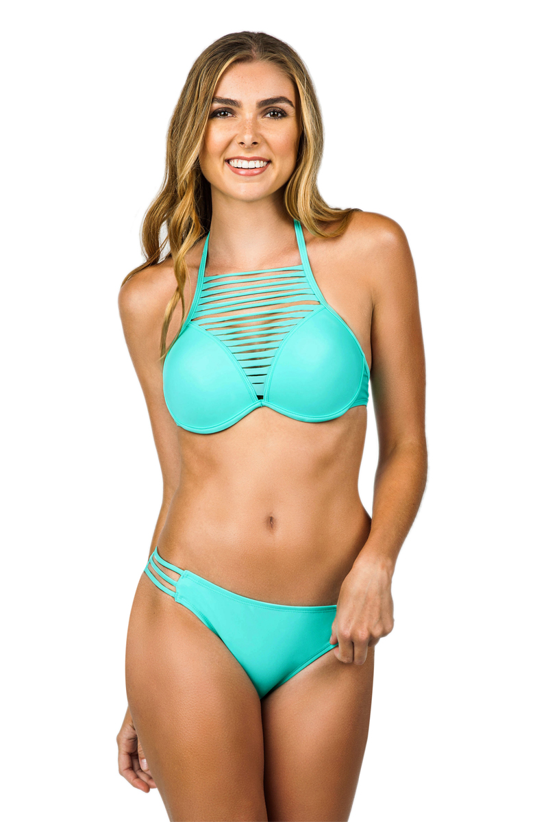 Island Soul Juniors Sundance Solid Strappy Side Pant Swim Bottom