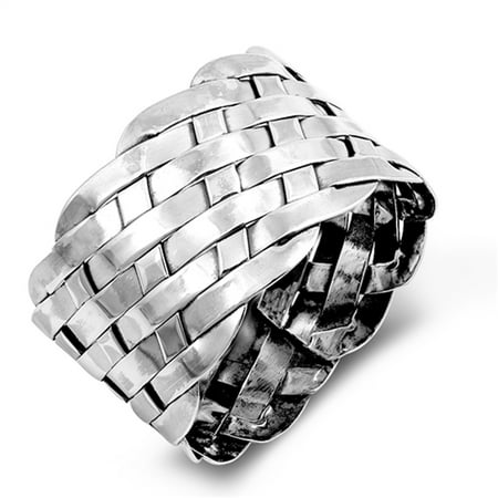 - Wide Weave Basket Knot Cocktail Mesh Ring .925 Sterling Silver Band Size 7