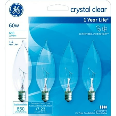 - Ge 76239 Crystal Clear 60-watt Bent Tip Light Bulb 4 Count (Pack Of 3)