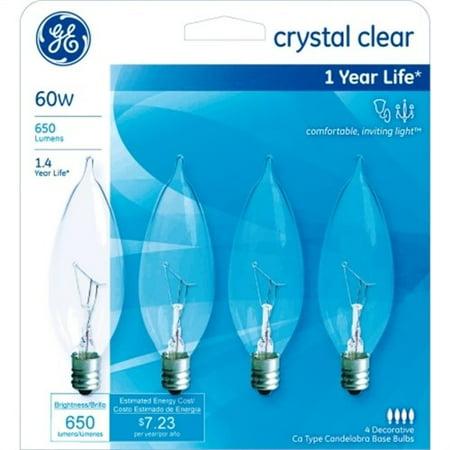 Ge 76239 Crystal Clear 60-watt Bent Tip Light Bulb 4 Count (Pack Of - Crystal Light Bulbs