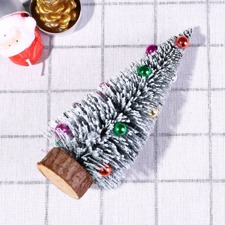 Christmas Tree Mini Pine Tree With Wood Base DIY Crafts Home Table Top Decor
