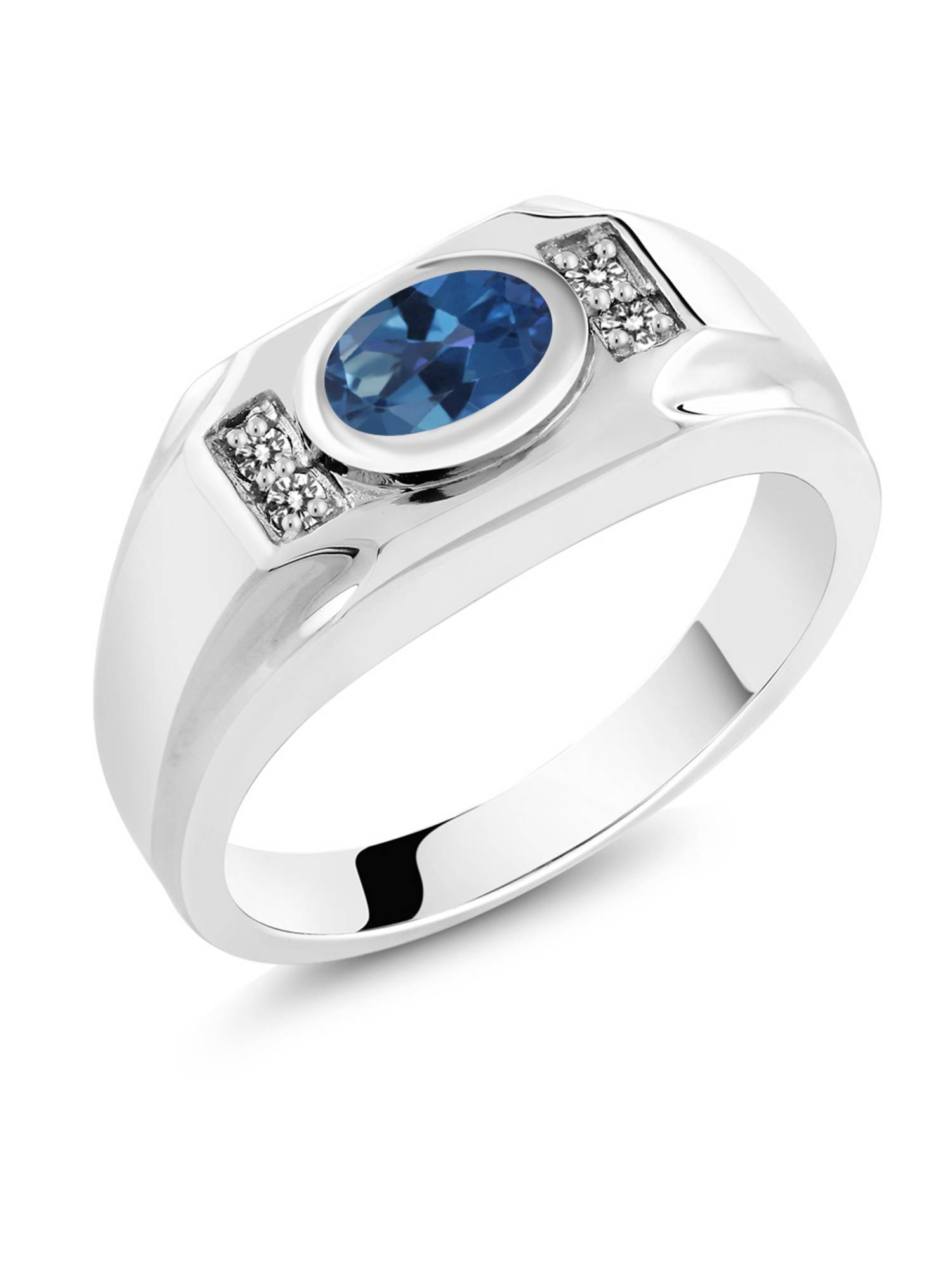 1.73 Ct Royal Blue Mystic Topaz White Diamond 925 Sterling Silver Men's Ring by