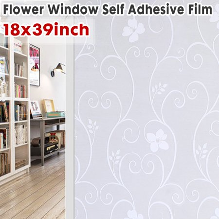 18x39inch Privacy Frosted Glass Flower Window Film Static Cling No Adhesive For Doors Home Kitchen Office Bathroom Frosted Glass Window Film