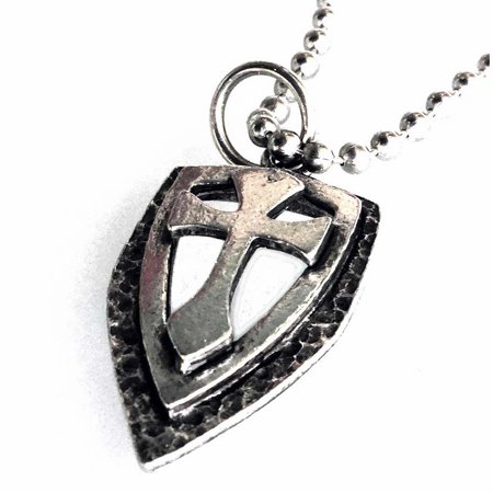 - Necklace-Antique Pewter Cross Shield Pendant On 24