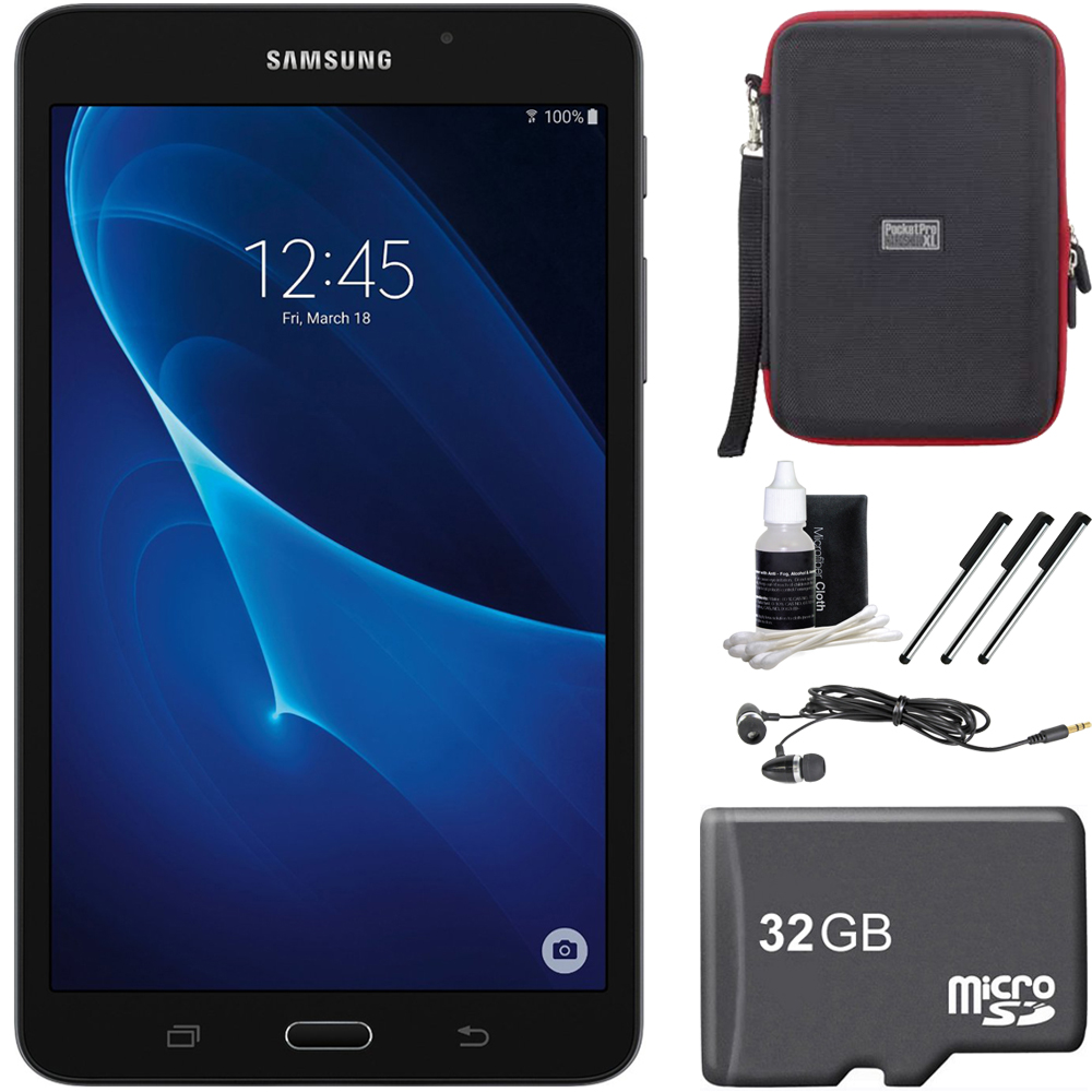 "Samsung Galaxy Tab A Lite 7.0"" 8GB Tablet PC (Wi-Fi) White 32GB microSD Accessory Bundle includes Tablet, 32GB microSD Memory Card, Cleaning Kit, 3 Stylus Pens, Ear Buds and Hardshell Case"