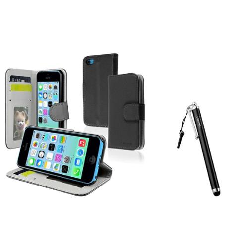 Insten Black Stand Leather Card Holder Wallet Case+Stylus Pen For iPhone 5C