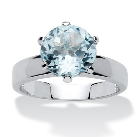 3.80 TCW Round Genuine Blue Topaz Solitaire Ring in Sterling Silver