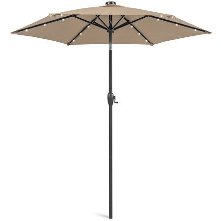 Image of Best Choice Products 7.5ft Outdoor Solar Patio Umbrella for Deck, Pool w/ Tilt, Crank, LED Lights - Tan