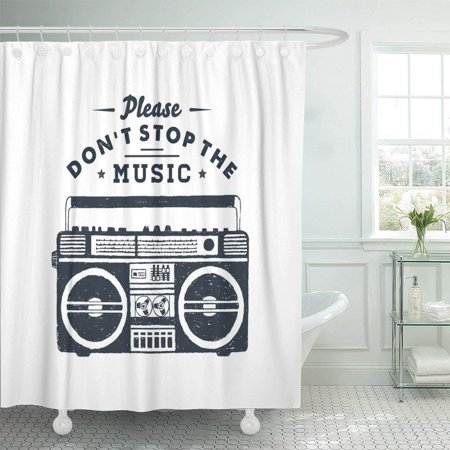 PKNMT 90S Badge Boombox Recorder and Please Don Stop The Polyester Shower Curtain 60x72 inches](90's Boom Box)