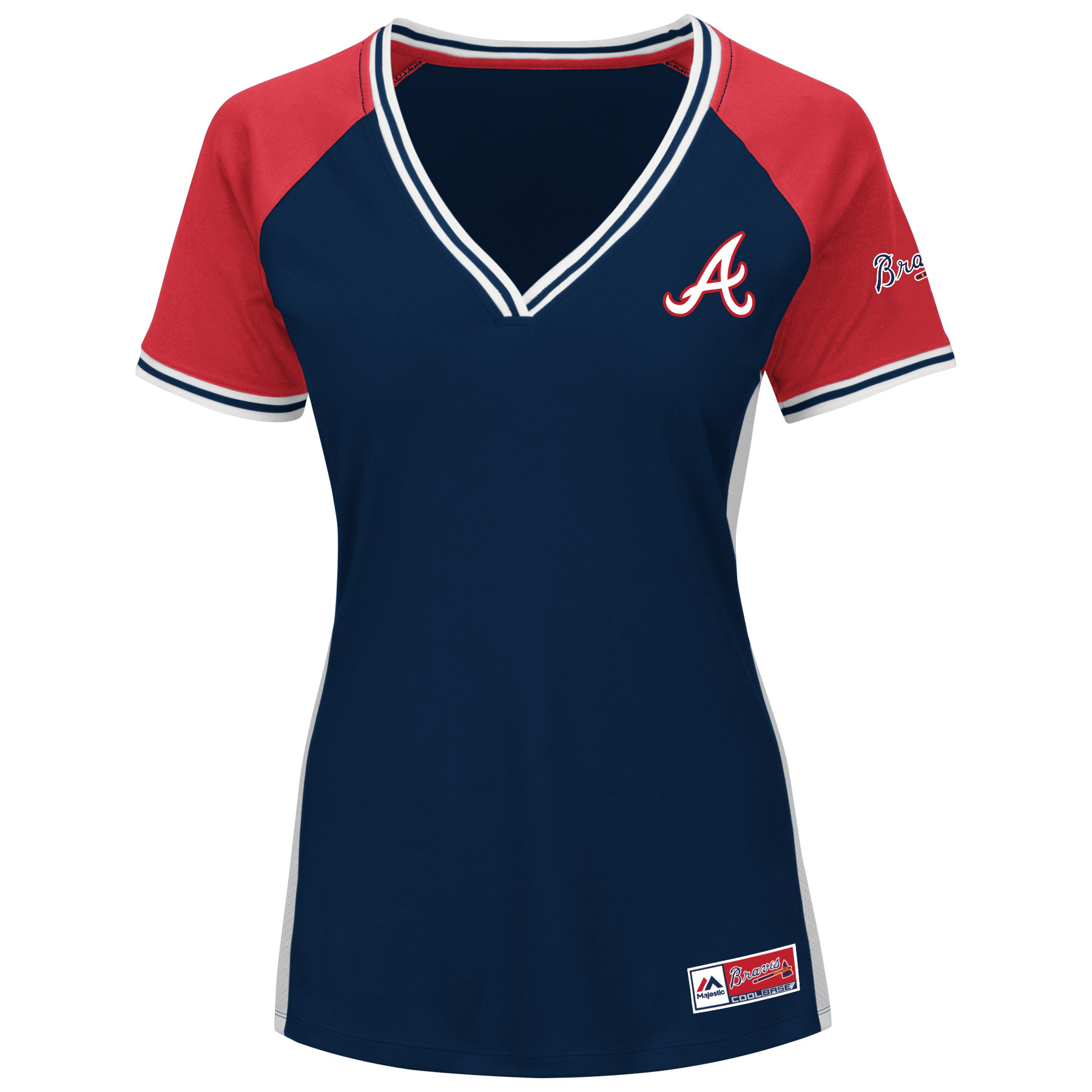Atlanta Braves Majestic Women's Plus Size League Diva Cool Base V-Neck T-Shirt Navy by Profile