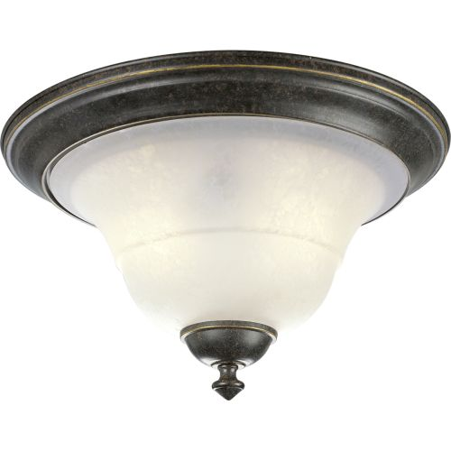"Progress Lighting P3641 Melbourne 14-1/4"" Two-Light Flush Mount Ceiling Fixture with Etched Watermark Glass Shade"