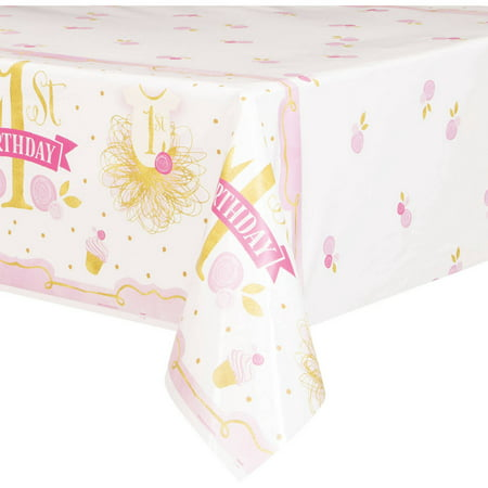 Pink & Gold Girl 1st Birthday Plastic Party Tablecloth, 84 x 54in](1st Birthday Girl Party Supplies)