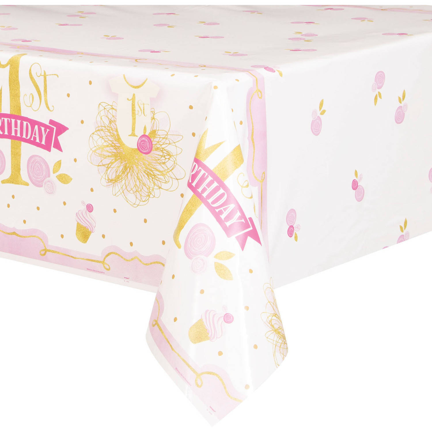 "Plastic Pink and Gold Girls First Birthday Table Cover, 84"" x 54"""