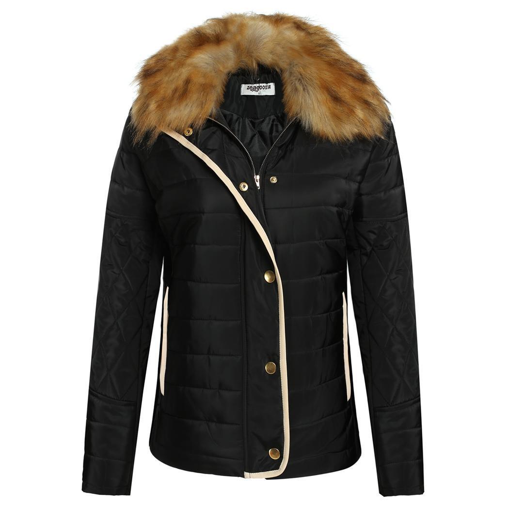 Women Ladies Fashion Detachable Fur Collar Cotton Thick W...