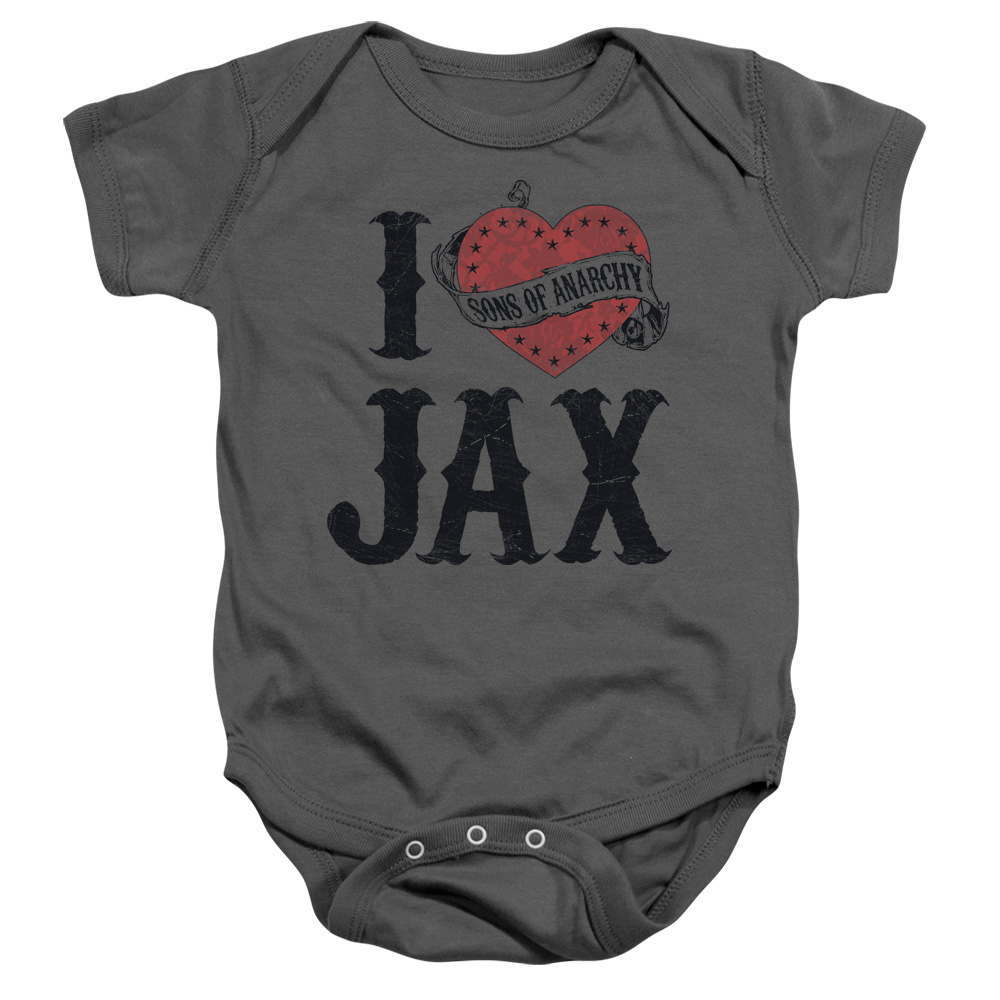 Sons Of Anarchy I Heart Jax Unisex Baby Snapsuit Charcoal MD (12 Mos)