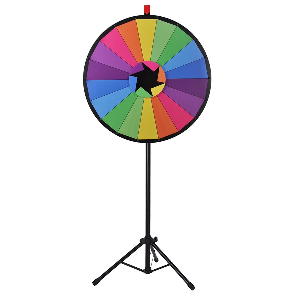 """WinSpin® 30"""" 18 Slot Floor Stand Prize Wheel Editable Color of Fortune Tripod Spin Game Tradeshow Carnival"""