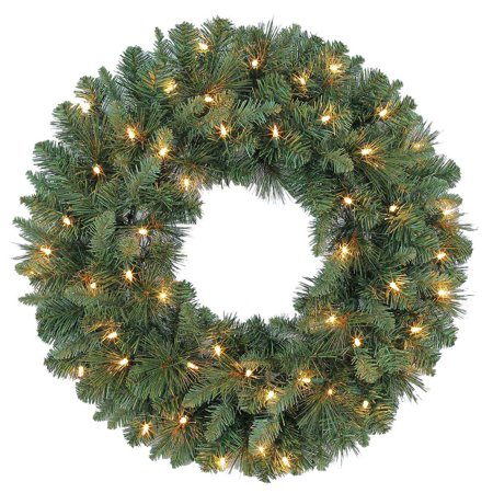 Holiday Time Prelit Green Scottsdale Pine Christmas Wreath, 24 in Christmas Wreath Pattern