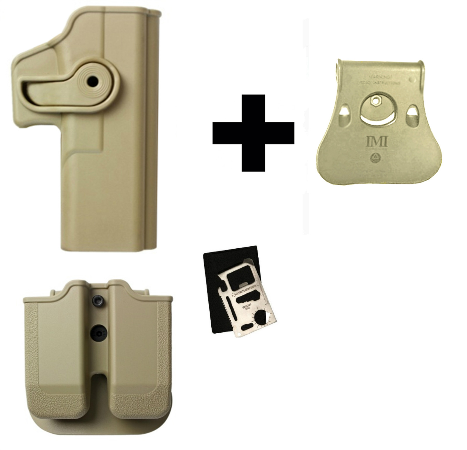 IMI Defense Z2020 MP02 Double Mag Holder & Paddle + Z1050 Polymer 360� Rotate Holster Glock 20 21 28 30 37 38 Right... by