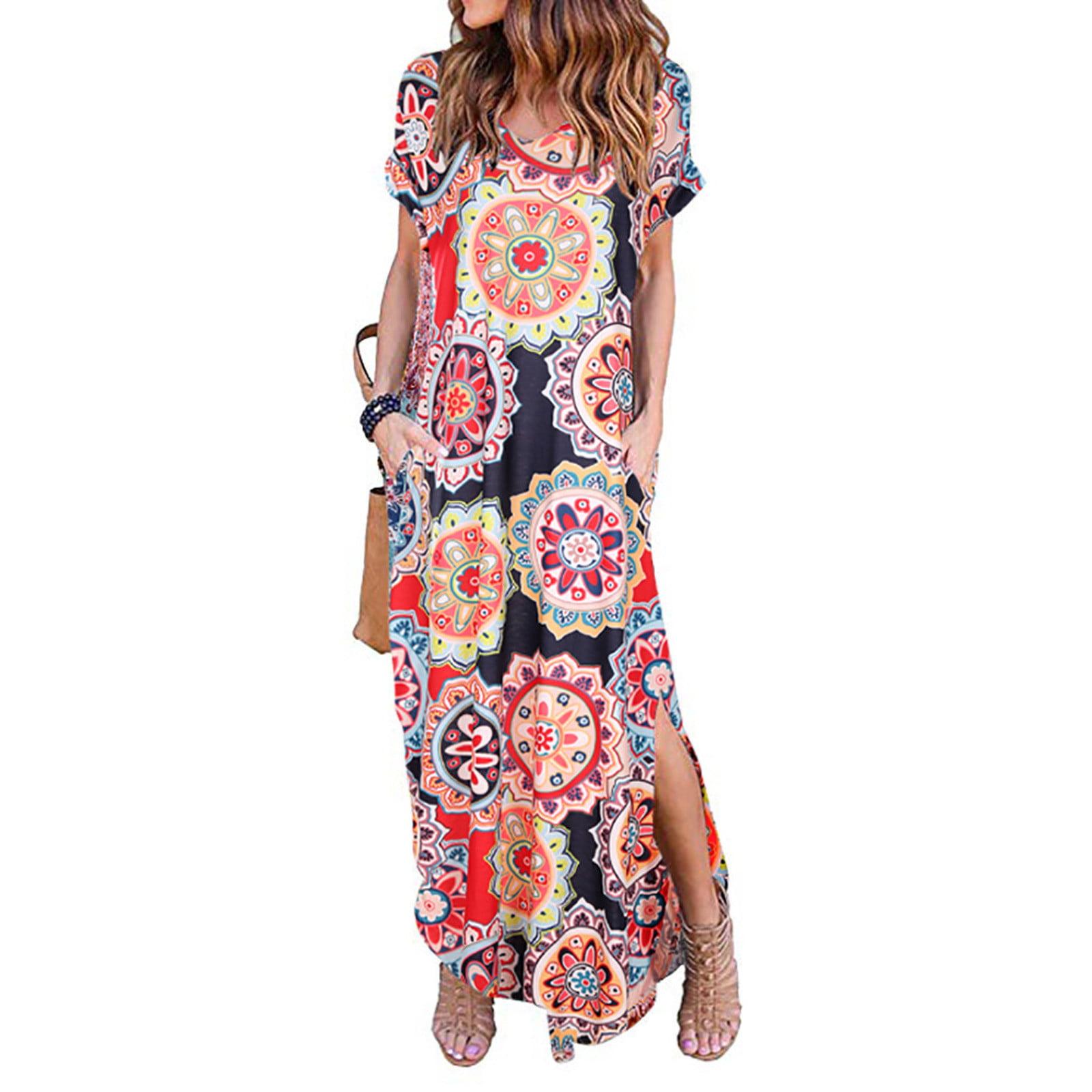 Women Summer Print Dress V-neck Fashion Casual Loose Long Skirt Long Dress