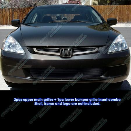 Fits 03 05 Honda Accord Sedan Black Billet Grille Grill Combo Insert H67956h