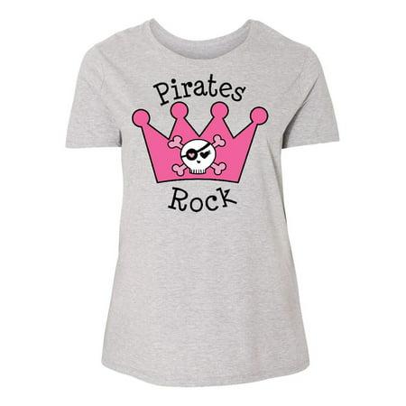 Plus Size Pirate Shirt (Pirates Rock Pink Crown Women's Plus Size)
